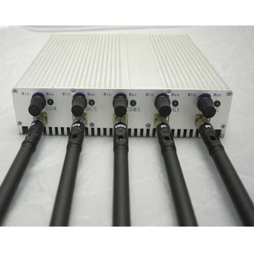 10 Antennas Signal Jamming - 5 Band Adjustable 3G 4G Cellphone Jammer with Remote Control